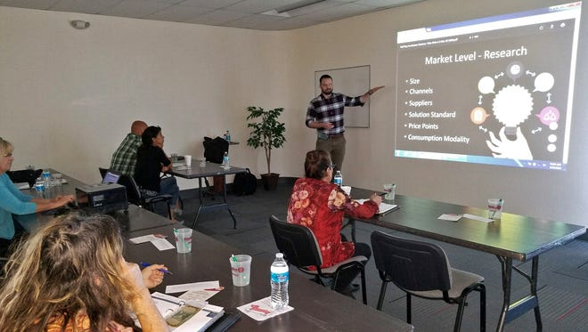 Studio G Director Kramer Winingham presents a free half-day business accelerator workshop at New Mexico State University Alamogordo. The workshop was offered to the community through the Next Gen Entrepreneurship program at NMSU's Arrowhead Center.