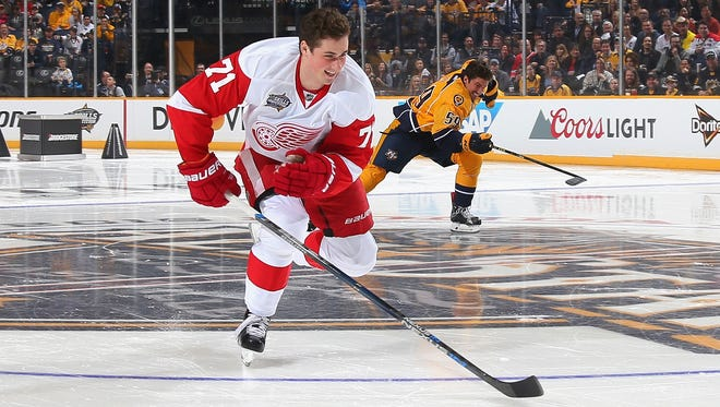 Red Wings forward Dylan Larkin competes in the Bridgestone NHL Fastest Skater during the 2016 Honda NHL All-Star Skill Competition at Bridgestone Arena on Saturday.
