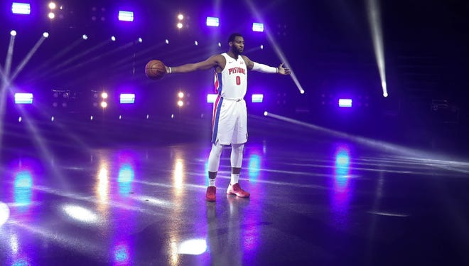 Detroit Pistons Andre Drummond is photographed during Media Day Monday, September 25, 2017 at the Palace in Auburn Hills, MI. Kirthmon F. Dozier/Detroit Free Press