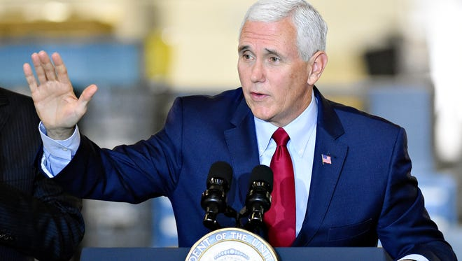 Vice President Pence speaks during a visit to Military & Commercial Fasteners Corporation in Manchester Township, Pa.