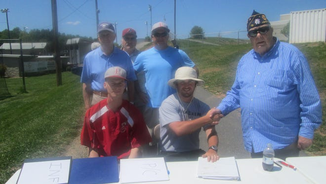 Erwin baseball coach Cort Radford, center, is the first-year coach for the American Legion Post 70 baseball team.