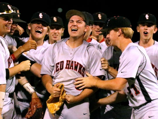 Stewarts Creek's pitcher Maddox Vondohlen (3), center, celebrates with his team after the team won the  7-AAA District baseball Tournament over Blackman on Wednesday, May 10, 2017. Vondohlen struck out the last batter to win the game.