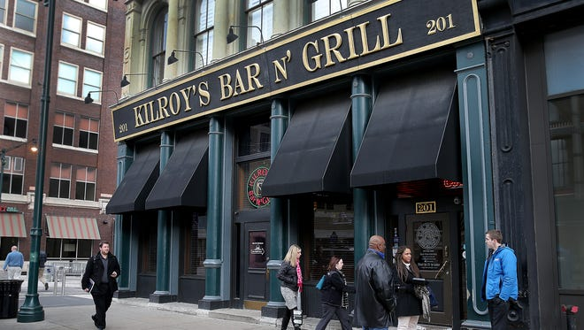 Lunch goers leave Kilroy's Bar & Grill, Monday, Jan 4, 2016, at 201 S. Meridian St. Downtown Indianapolis.
