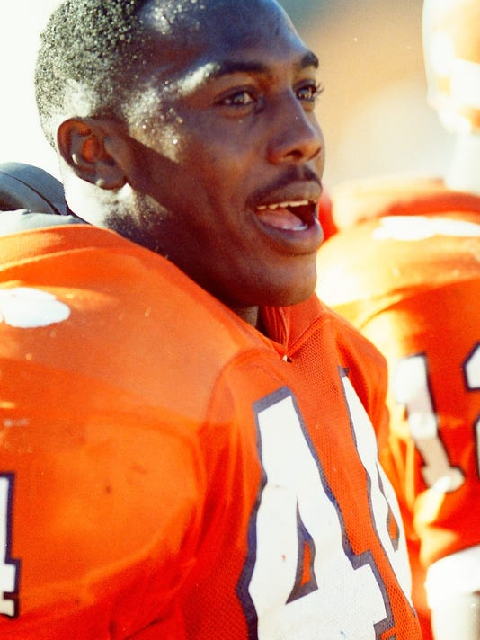File photos from Clemson University's ACC championship 1990 team, the last to have a number 1 defense in the country until this year. Ken Hatfield was coach, 10 DeChane Cameron quarterback and freshman 25 Ronald Williams running back. m44 Levon Kirkland L