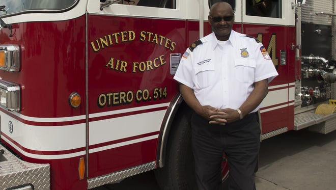 Harvey Stevens, 49th Civil Engineer Squadron deputy fire chief, poses for a photo in front of fire engine 14 at Holloman Air Force Base on April 27, 2017. Stevens retired on April 28, 2017 after 50 years of service.
