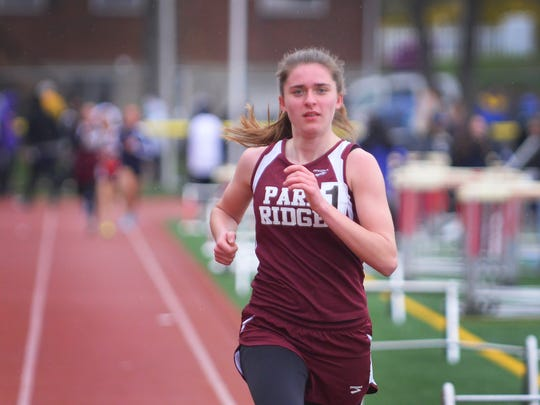 Samantha Green of Park Ridge, finishes first in the 1600 meter in the Patriot heat during the NJIC Liberty and Patriot Track meet at Emerson High School in Emerson on 04/30/18.