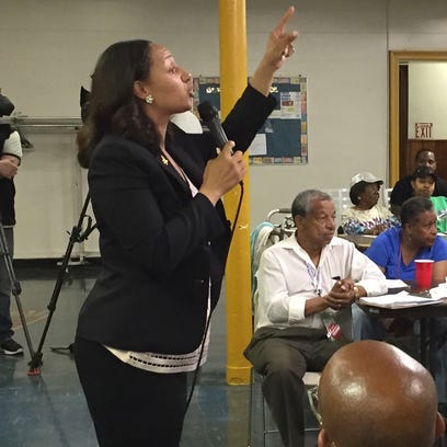 Detroit City Councilwoman Mary Sheffield spoke to residents