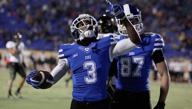 Duke's Jamison Crowder (3) reacts after scoring a touchdown during an NCAA college football game, Saturday, Nov. 29, 2014 in Durham, N.C.