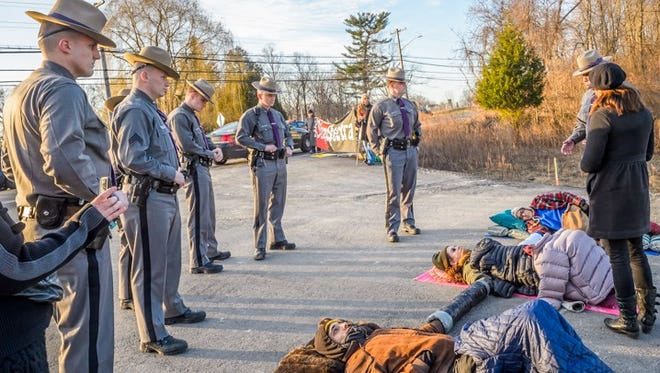 Eleven people were arrested for allegedly blocking construction sites for the Algonquin natural gas pipeline in Verplanck on Feb. 29, 2016. Photo provided by Resist AIM