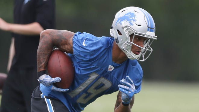 Detroit Lions receiver Kenny Golladay catches passes during minicamp Wednesday, June 14, 2017 at the practice facility in Allen Park.