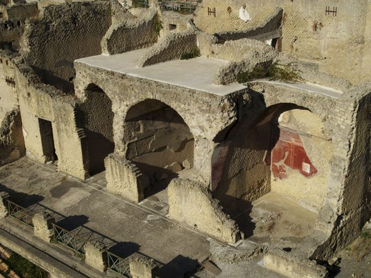Herculaneum was one of several towns destroyed when Mount Vesuvius erupted in A.D. 79.