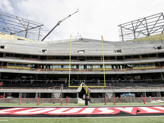The end zone expansion at Papa John's Cardinal Stadium