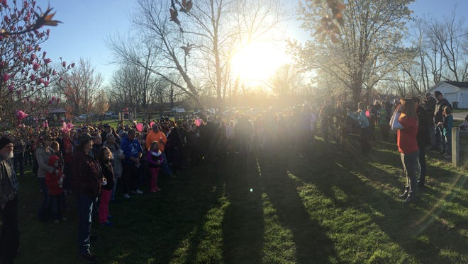 A panoramic shot of the crowd at a vigil held for slain 1-year-old Shaylyn Ammerman.