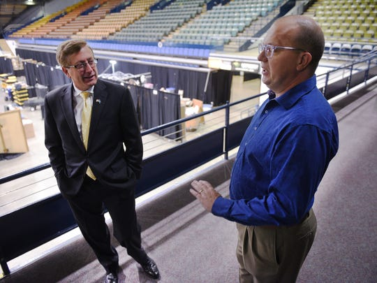 General Manager for SMG Terry Torkildson and Mayor Mike Huether meet Thursday, Oct. 26, to discuss current condition of the Sioux Falls Arena.