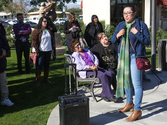 Samantha Yañez speaks Thursday, Jan. 26, 2017, during a rally in Coachella where residents were asked to urge their representatives to strengthen immigrant protections in the wake of President Trump's executive order that could cost sanctuary cities federal funding. Coachella is a sanctuary city.