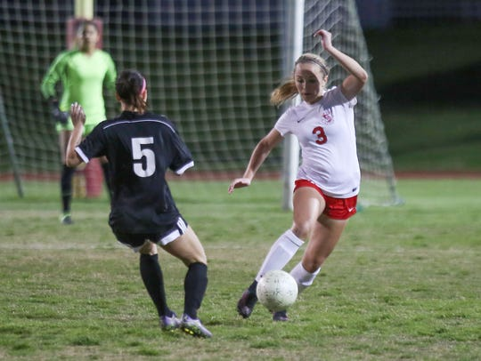 Kaci Holliday of Palm Desert dribbles during their