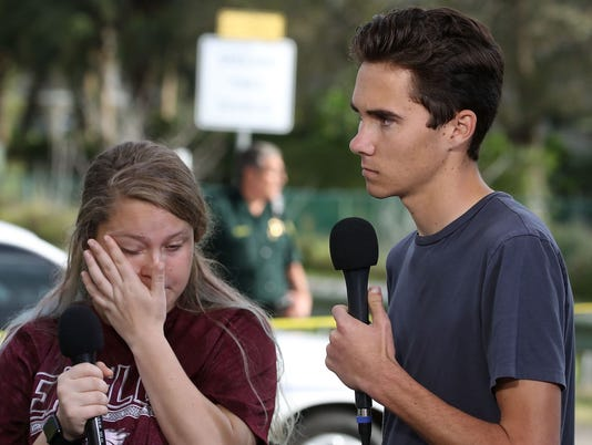 Kelsey Friend and David Hogg in Parkland, Fla., on Feb. 15, 2018.