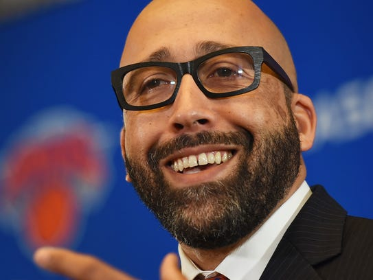 Knicks new head coach David Fizdale talks to reporters