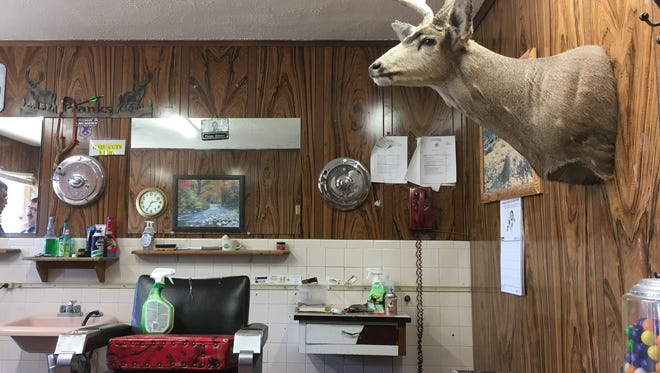 Some of the unique ambience of Frank's barber shop in Deming, NM.