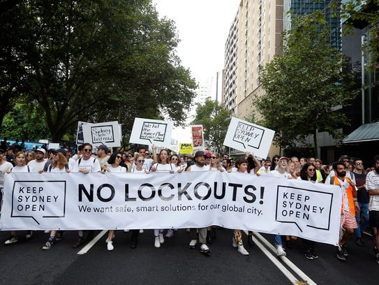 Keep Sydney Open demonstrators protest on Feb. 21,