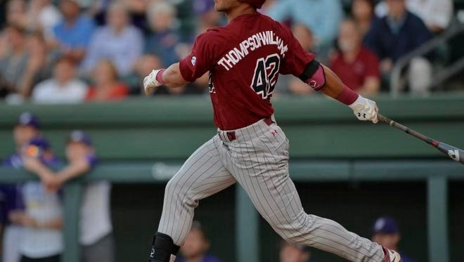 Dom Thompson-Williams hits a double against Furman Wednesday at Fluor Field. Thompson-Williams had three doubles, a triple and three RBIs in the Gamecocks' 14-4 win.
