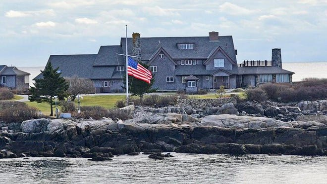 Flag at half-mast this week in front of the Bush family home on Walker's Point in Kennebunkport.