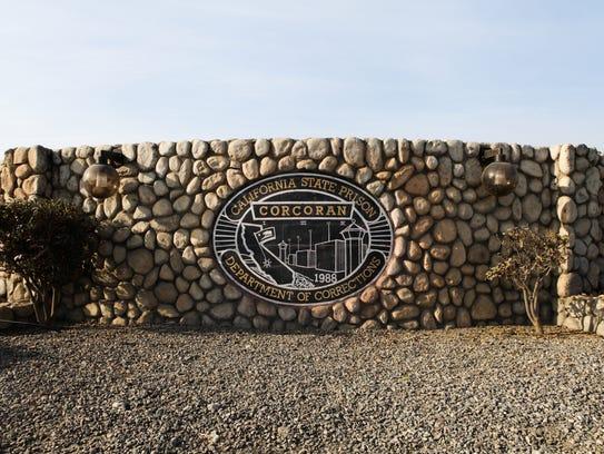 Corcoran State Prison sign.