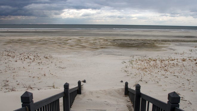 The view at the steps to Beach D on Sandy Hook a few days after superstorm Sandy in 2012.
