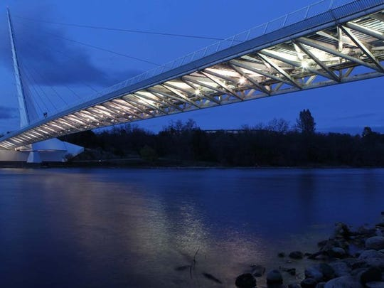 File photo - The Sundial Bridge is dimly lit in February 2013.