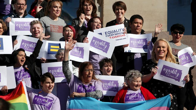 LGBT supporters honor Trans Kids Support Visibility Day in Pierre, S.D. on Feb. 23, 2016.