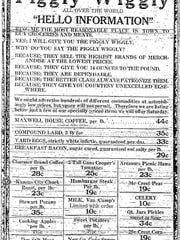 Piggly Wiggly ad from Feb. 25, 1927