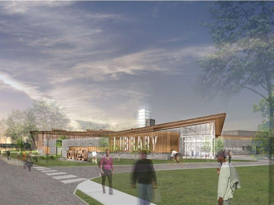 A rendering of the Del. 9 library south of Wilmington is shown. Large-scale New Castle County projects would be subject to new hiring rules under a plan the County Council is considering.