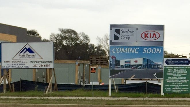 Construction of a Kia dealership in Lafayette continues.