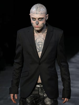 Rick 'Zombie Boy' Genest walked in the Thierry Mugler  fall-winter 2011-2012 show in Paris.