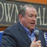 Former Arkansas Governor Mike Huckabee campaigned for the Republican nomination for president at the Pizza Ranch in Indianola to a crowd of about 40 people Tuesday, Jan. 26.