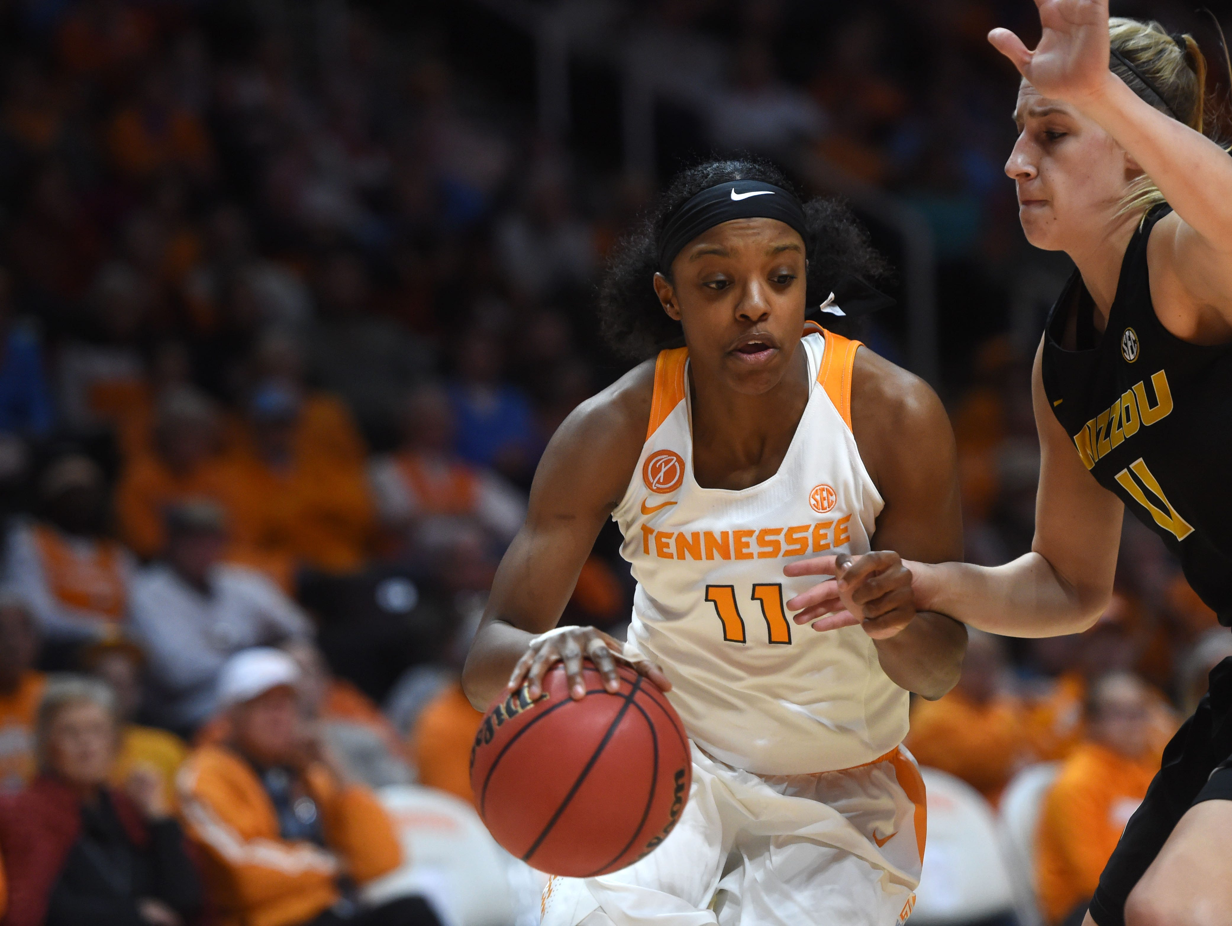 Tennessee's Diamond DeShields drives against Missouri's Lindsey Cunningham on Thursday at Thompson-Boling Arena Thursday.