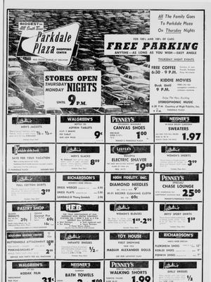 A full page for Parkdale Plaza shopping center from the Caller-Times in July 1958.