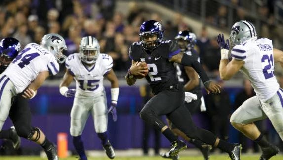 TCU quarterback Trevone Boykin runs against Kansas State