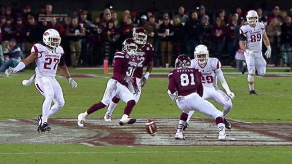Mississippi State freshman Jamoral Graham was relieved of his punt return duties midway through the Arkansas game.