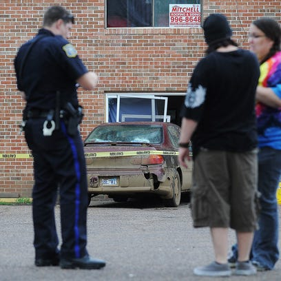 Sioux Falls Police officers on scene after a hit-and-run