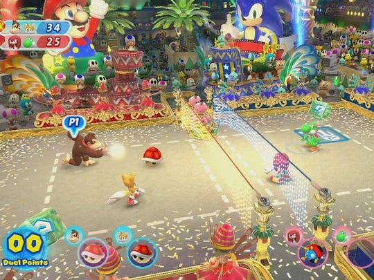 """Beach volleyball Duel-style with items is one of the events in """"Mario & Sonic at the Rio 2016 Olympic Games."""""""