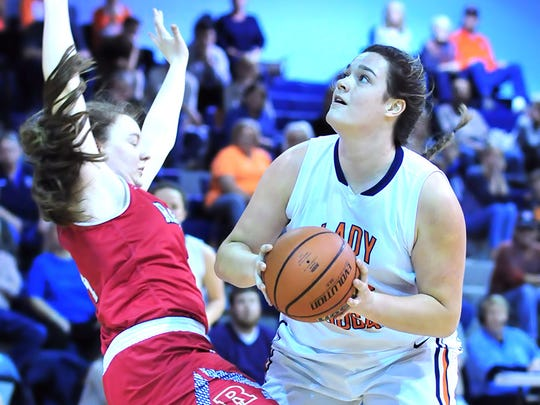 Dickson County's Kailey Rosenbaum scores in the paint