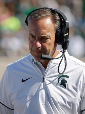 Michigan State Spartans coach Mark Dantonio during the fourth quarter against Wisconsin, Saturday, Sept. 24, 2016, in East Lansing, Mich.