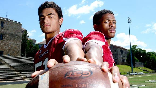 Asheville High's Andrew Leota, left, and Makaius Brewer.