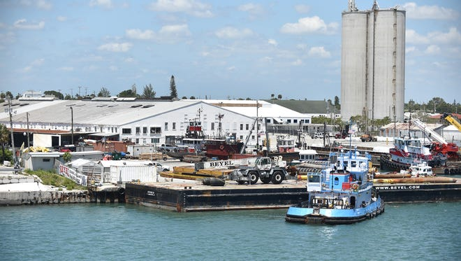 The Port of Fort Pierce, as seen on Tuesday, May 8, 2018, on the Indian River Lagoon just inside the Fort Pierce inlet. St. Lucie County is looking for a mega-yacht repair company to open a facility at the port.