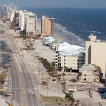 An overall of the Perdido Key area shows the damage to the road and some of the buildings two days after Hurricane Ivan hit in September 2004.