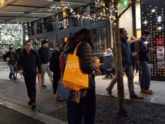 amazon go lines form in seattle to try checkout free shopping. Black Bedroom Furniture Sets. Home Design Ideas