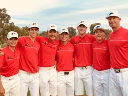The Chaparral boys golf team celebrates its 2017 championship.