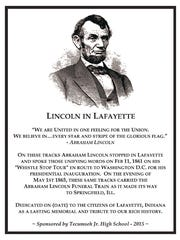 The Lincoln in Lafayette plaque