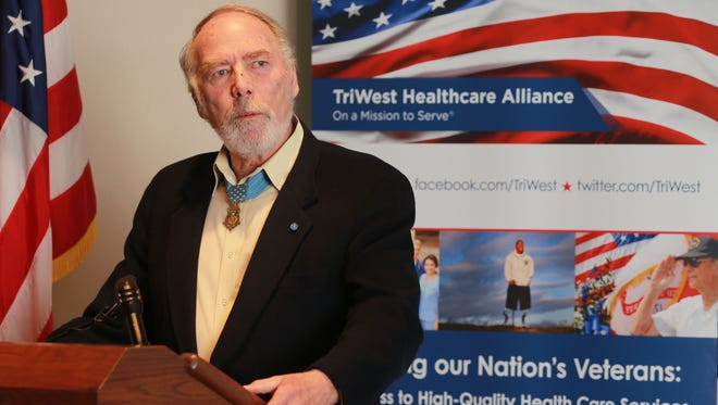 Drew Dix, a Medal of Honor recipient, TriWest consultant and Vietnam veteran, speaks during the news conference Tuesday.